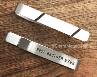 Best Brother Ever Tie Bar Brother Tie Clip Brother Gift Engraved Metal Tie Clip Stainless Steel For Him For Brother Guy Gift