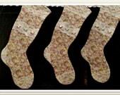 CUSTOM ORDER - 3 Shabby Chic Aqua & Pink Roses Christmas Stocking, Vintage White Lace Trim