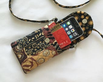 Iphone 6 Case Smart Phone Gadget Case Detachable Neck Strap Quilted African Print Black Brown Tan