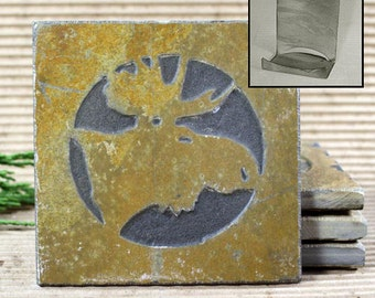 Etched Natural Stone Coaster Set with Holder - Moose Head on Buff Slate