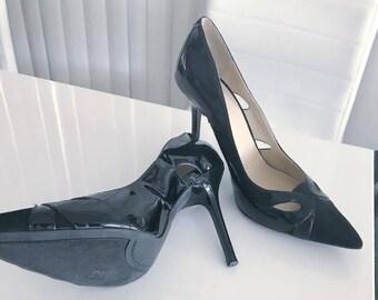 Vintage Reproduction Pointy Toe Black Stiletto Heel Pumps -- Size 8.5 US - Fetish