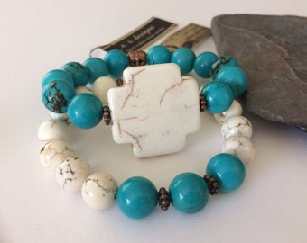 Double Stack for Stretch Bracelets,  White and Blue Turquoise and Copper