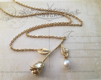 Gold Rose Necklace with Pearl Dew Drop, Valentine's Day Gift | Girlfriend Gift | Anniversary Gift