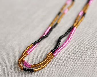 Multicolor Beaded Necklace in Black, Pink and Amber