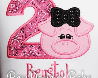 Pink Birthday Shirt, Pig Birthday Bodysuit, Custom, Any Age