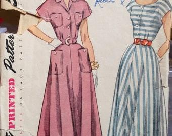 Vintage 50s Dress Pattern Pockets 32 bust Simplicity 2910
