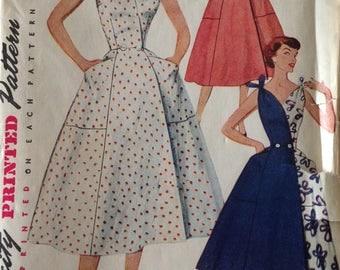 Vintage 50s Wrap Dress Pattern 1950s 34 bust Shoulder Ties Simplicity 4683