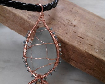 FOR HIM or HER - Fish Pendant with genuine sea glass from Amalfi Coast and eco leather