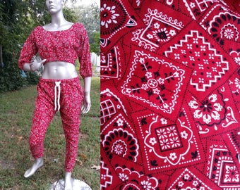 80s Costume, Cropped Top, 80s Pants, Red Bandanna, Parachute Pants, Red Bandanna Pants, MC Hammer Pants, Vintage Pants, 80s Shirt Size 14