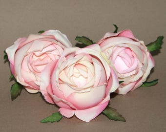 3 Large Cream Pink Cabbage Rose Buds - Silk Flowers, Artificial Flowers