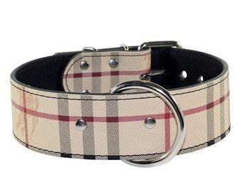 Plaid Leather Dog Collar - Classic plaid leather dog collar - Leather Dog Collar - Made In Usa
