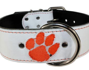 "White Clemson Tigers Dog Collar - 2"" Tigers Leather Dog Collar - Clemson Tigers Collar - Custom Dog Collar - Leather Collar (Made In Ca)"