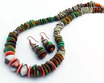 Turquoise, Shell, Ceramic and Wood Necklace set
