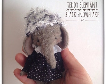 SPRING IS COMING 4 inch Artist Handmade Christmas Teddy Elephant Black Snowflake by Sasha Pokrass