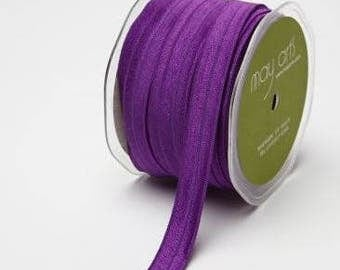 Fold Over Elastic (FOE) Ribbon - Purple - 5/8 inch  - You Choose Yards