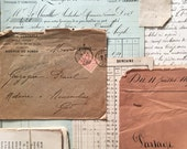 Ephemera pack- vintage french papers, letters, button card
