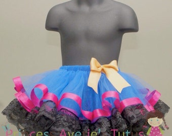 READY to SHIP Royal Blue tutu with Fuchsia Black and Gold. Ice Sister Inspired. 1-4 years