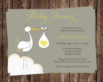Stork, Baby Shower, Invitations, Yellow, Gray, Heart, Sprinkle, 10 Printed Cards, Customized, FREE Shipping, SSDNL, Special Delivery Neutral