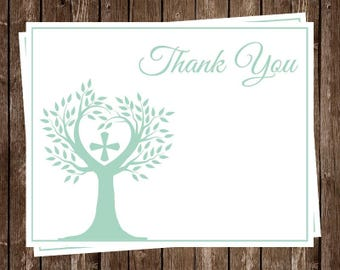 Tree of Life, Religious Thank You Cards, Mint, Green, Set of 24 Folding Notes with Envelopes, Neutral, Baptism, Christening, Confirmation