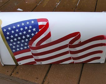 Patriotic Hand Painted Mailbox A