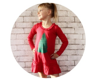 Christmas Tree Dress, Holiday Dress, Girls Clothes, Red Christmas Dress Toddler Clothes Long Sleeve Pine Tree Graphic Screenprinted Clothing