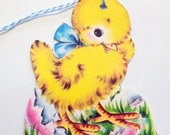 Yellow Chick Tags - Easter Tags - Set of 3 - Retro Easter Tags - Blue Bow Chick - New Hatched  Chick - Pink Eggshells - 1950's Chick Tags