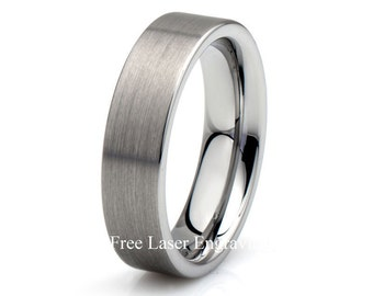Brushed Tungsten Wedding Band, Mens Wedding Ring, 6mm Tungsten Ring, Tungsten Ring, Mens Band, Custom Engraved Wedding Band, Personalized