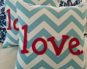 Love.  Turquoise and Red Chevron Valentine Pillow