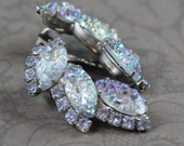 Vintage 1950s to 1960s Baby Blue Rhinestone and Shimmering Crackle Art Glass Silver Clip On Earrings