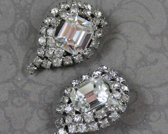 Vintage Clear Rhinestone Silver Swirl Clip On Earrings