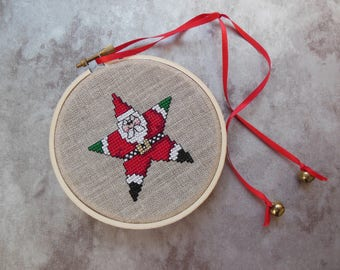 Cross Stitched Santa Star in Embroidery Hoop Hung with Jingle Bells