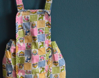 Vintage Baby Girl Romper with Bavarian Novelty Print - Size 6-9 Months
