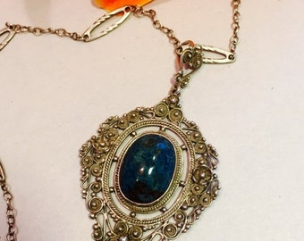 2017 New Years SALE Beautiful Italian Peruzzi Sterling Silver Filigree Blue Solidite Stone Vintage Antique Necklace