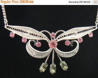SALE CLEARNCE SALE Sterling Silver Filigree Pink and Topaz Rhinestone Vintage Necklace Singed Van Dell