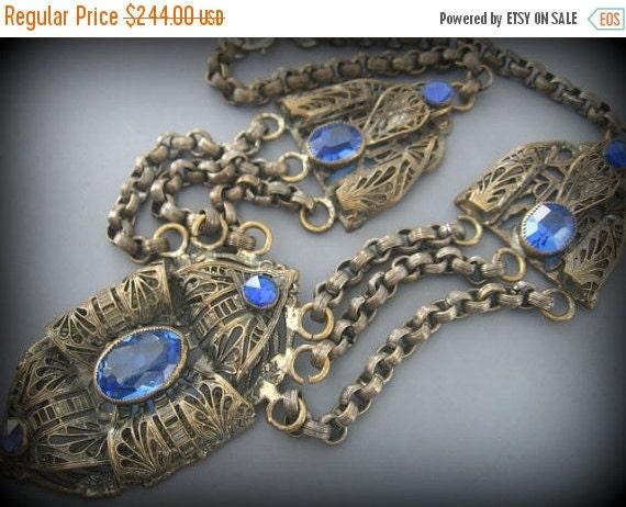 Holiday Christmas SALE SALE Stunning Austro Hungarian Art Deco Nouveau Blue Stone Vintage Brass Festoon Necklace