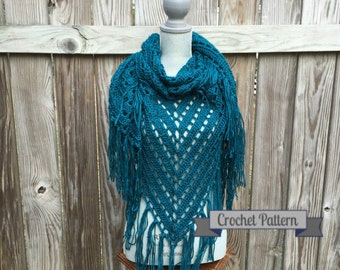 Crochet Pattern, Shawl Pattern, Triangle Scarf Pattern, PDF