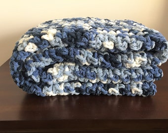Chunky Crochet Blanket in Shades of Blue and Cream Chenille