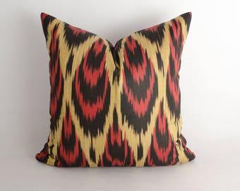 15x15 ikat pillow cover, red cream, bohemian pillow, decorative cushion, sofa pillows, ikat pillows, uzbek ikat, ikat fabric