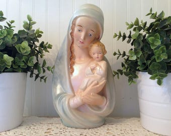 vintage Madonna and baby Jesus Chippy Chalkware Mary Statue .T.M.O.C. 1938 . pale aqua blue, cream religious Catholic decor . shabby cottage
