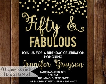 Fifty and Fabulous Invitation, 50th Birthday Invitation, Fiftieth Birthday Invitation, 50th Birthday Invite, 40th, 50th, 60th, Fifty and Fab