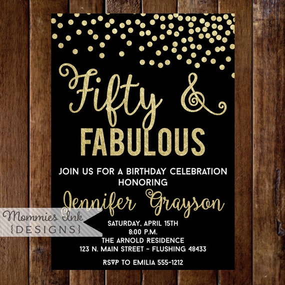 Fifty and Fabulous Invitation 50th Birthday Invitation Fiftieth
