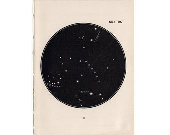 1903 bootes stars mini constellation figures original antique celestial astronomy print -  map 19 - the herdsman