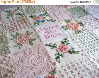 "ON SALE Personalized Vintage Chenille Baby Quilt -  ""Baby's Breath"" - Custom - Boutique quality bedding for your little one."