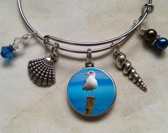 Beach Bangle Bracelet Seagull Photo Art Charm expandable Glass Pearls Swarovski Crystals