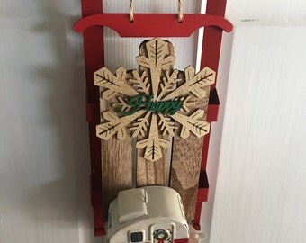 Wooden Sign - Vintage Trailer RV Camper Christmas HAPPY CAMPER Sleigh Holiday Camping Welcome