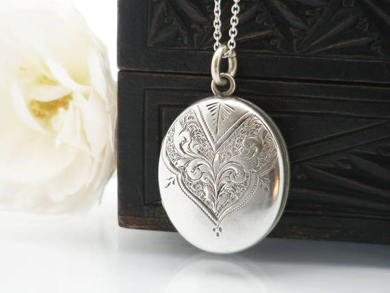 Victorian Locket | Antique Locket | Hand Chased Sterling Silver 'Front & Back' Locket Necklace | Love Token - 30 Inch Sterling Silver Chain