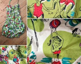 Original 1950s Novelty Print Bathing Suit / Pinup / Lime Green / Summer Holiday Swimsuit / Cotton S Vintage