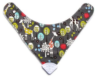 Baby Bandana Bib With  Sewn on Food Safe  Silicone Teether Corner, Michael Miller Giraffes, Reversible  Minky Lined