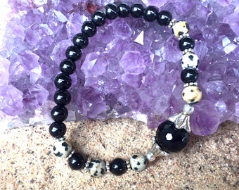 Black Tourmaline and Dalmatian Jasper Beaded Bracelet; Healing, Protection,Yoga, Energy, Meditation, Mala