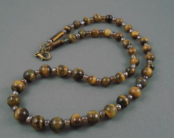 Tiger  Eye Necklace, Eighteen Inch Strand of Tiger Eye Gemstone Beads